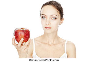 rosso, donna, mela, presa a terra, giovane
