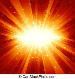 rosso, dorato, scoppio leggero, con, stelle