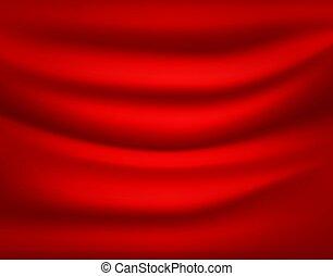 rosso, drapery., astratto, vettore, fondo