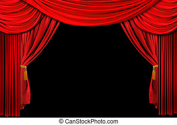 rosso, drappeggiato, palcoscenico, fondo