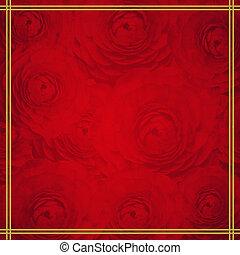 rosso, e, dorato, lusso, fondo