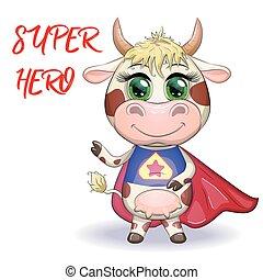 rosso, eroe, mantello, simbolo, cartone animato, carino, costume, orientale, calendar., toro, 2021, mucca