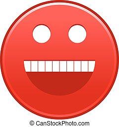 rosso, faccia sorridente, allegro, smiley, felice, emoticon