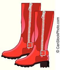 rosso, femminile, stivali
