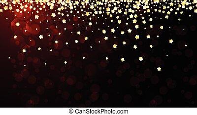 rosso, festivo, fondo, con, stars.