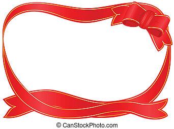 rosso, festivo, nastro, bordo