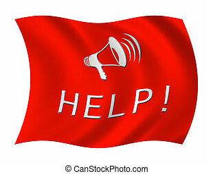 rosso, flag., uno, piangere, per, help., isolato