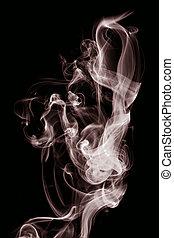 rosso, fumo, su, uno, sfondo nero