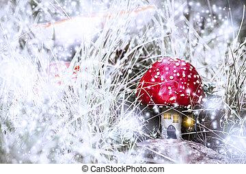 rosso, fungo, casa, con, bianco, macchie, fiocchi, in, uno, fantasia, foresta, con, neve, e, luce