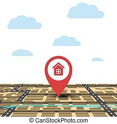 rosso, geolocation., illustrazione, punto, mappa fondo, vettore, pennarello, clouds., cielo
