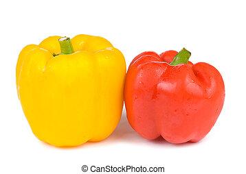 rosso giallo, isolato, pepe campana
