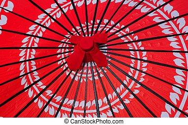 rosso, giapponese, ombrello