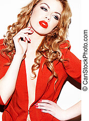 rosso, glamourous, donna