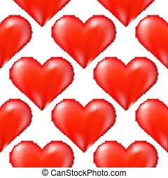 rosso, halftone, seamless, bianco, modello cuore, fondo, casuale