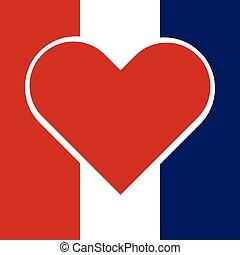 rosso, hart, dentro, uno, bandiera nazionale, di, francia, con, pregare, francia, concept., vettore, illustrazione, design.