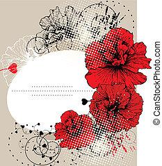 rosso, ibisco, e, il, cornice, con, uno, h