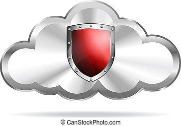 rosso, icona, scudo, nuvola, calcolare