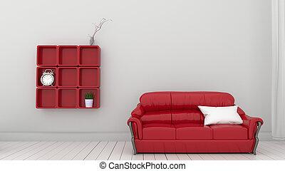 rosso, interpretazione, wall., mensole, 3d, bianco