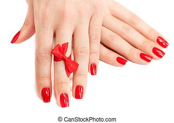 rosso, isolato, manicure, arco