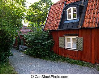 svedese casa legno neve tradizionale rosso svedese