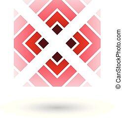 rosso, lettera x, icona, con, quadrato, e, triangoli, vettore, illustrazione