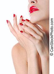 rosso, manicure, labbra