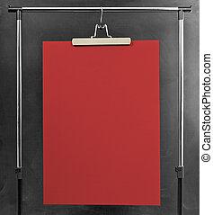 rosso, manifesto, appendere, a, uno, vestiti, cremagliera.
