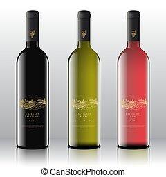 rosso, mano, qualità, vettore, rosa, disegnato, premio, vino, bianco, mazzo, vigneto, realistico, vendemmia, schizzo, retro, uva, paesaggio, set, bottles., etichette, typography., rurale