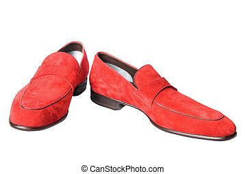 rosso, maschio, cuoio, scarpe, isolato, bianco