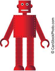 rosso, metallo, robot, bianco