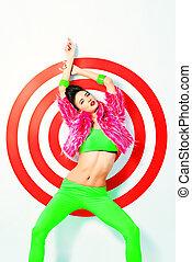 rosso, modello, femmina, tramortire, colorito, fashion., vivido, luminoso, vestiti, colpo., studio, proposta, moda, sopra, target., colpo
