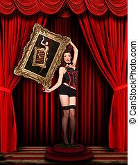 rosso, modello, palcoscenico, pinup, drappeggiato, circo