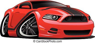 rosso, muscolo, automobile, cartone animato, illustrazione