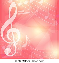 rosso, musica, fondo, con, note, -, vettore