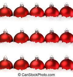 rosso, natale, palle, con, neve, isolato, bianco