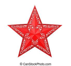 rosso, natale, stella, ornamento