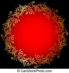 rosso, ornamento, fondo, oro, rotondo