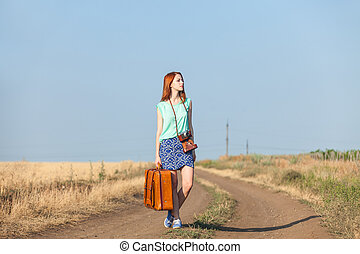 rosso, paese, ragazza, road., valigia