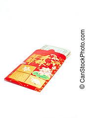 rosso, paghetta, per, anno nuovo cinese