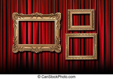 rosso, palcoscenico, teatro, tenda, con, 3, appendere, oro, cornici