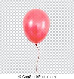 rosso, pallone elio, isolato, su, trasparente, fondo.