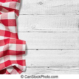 rosso, piegato, tovaglia, sopra, bianco, tavola legno