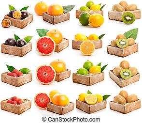 rosso, pompelmi, lychees, kiwi, frutta passione, giallo...