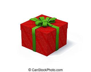 rosso, presente, scatola, bianco, fondo