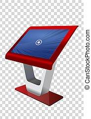 rosso, promozionale, interattivo, informazioni, chiosco, terminale, stare in piedi, schermo tocco, display., beffare, su, sagoma