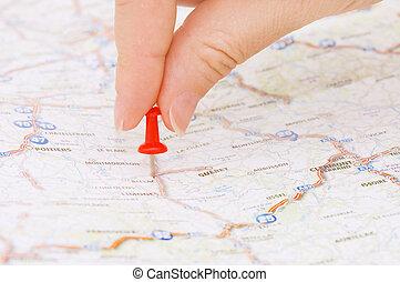 rosso, puntina da disegno, marcatura, uno, posizione