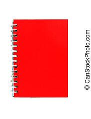 rosso, quaderno, isolato, bianco