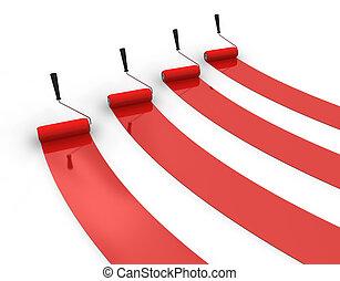 rosso, quattro, piste, vernice