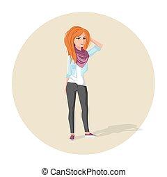 rosso, ragazza, vettore, hipster, illustrazione