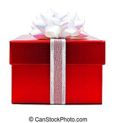 rosso, regalo natale, scatola, isolato